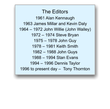 The Editors 1961 Alan Kennaugh  1963 James Millar and Kevin Daly  1964 – 1972 John Willie (John Walley)  1972 – 1974 Steve Bryan 1975 – 1978 John Guy 1978 – 1981 Keith Smith 1982 – 1988 John Guys 1988 – 1994 Stan Evans 1994 – 1996 Dennis Taylor 1996 to present day –  Tony Thornton